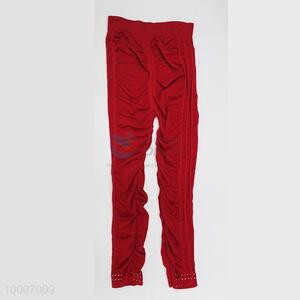 Wholesale Red Ninth Pants With Decoration Diamond