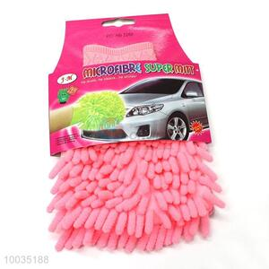 Pink single car washing mitt glove